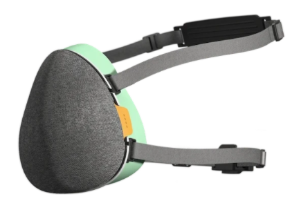 Grey and Lime Airhead pollution mask