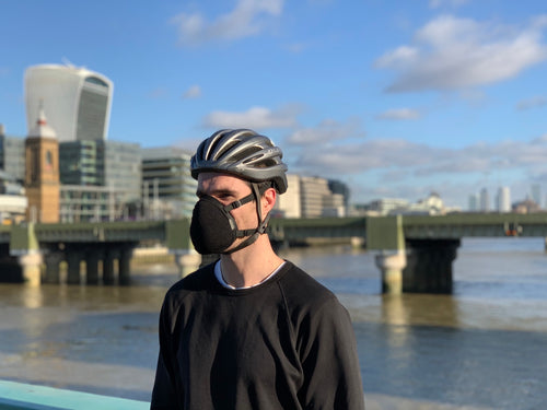 Pollution mask in the city to protect against pollution