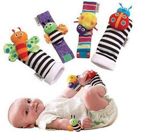 Cute Animal Wrist and Foot Rattles 4 pcs