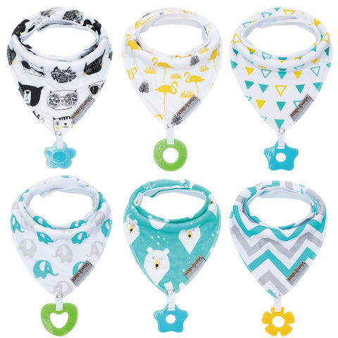 6-Pack Baby Bandanna Drool Bibs  and Teething Toys