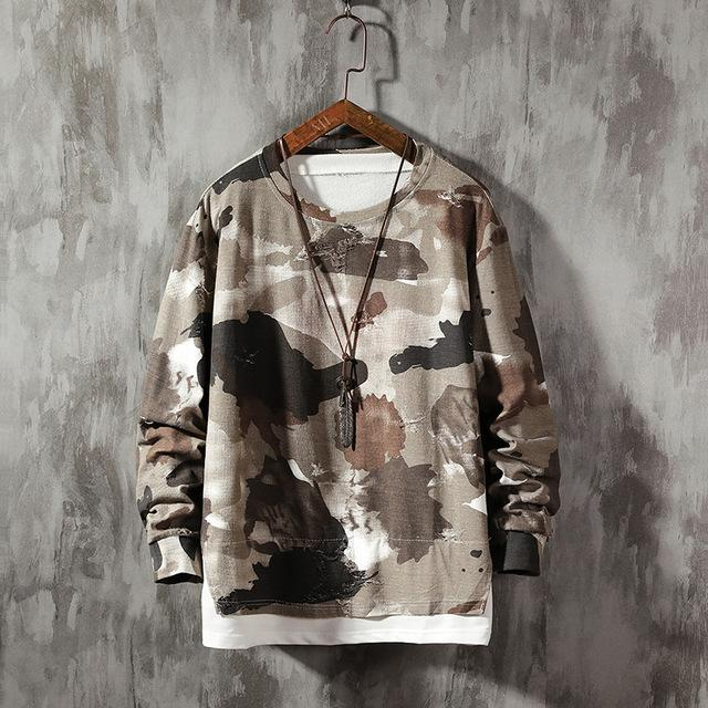 Camo Ripped Long Sleeved T-Shirt