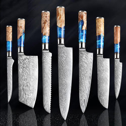 Beautiful Damascus Steel Knives with Blue Resin Handle