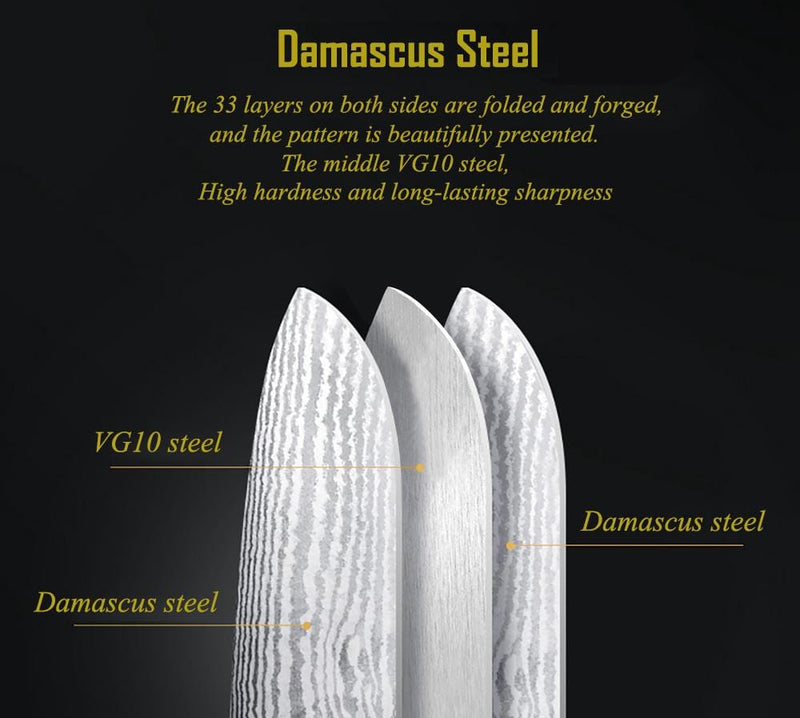 Damascus Steel Professional Chef Knife Set - made from Damascus steel