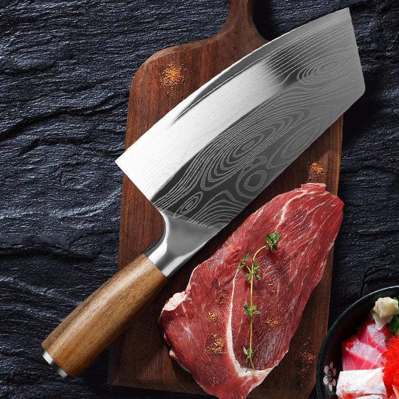 Stainless Steel Meat Cleaver with Wooden Handle