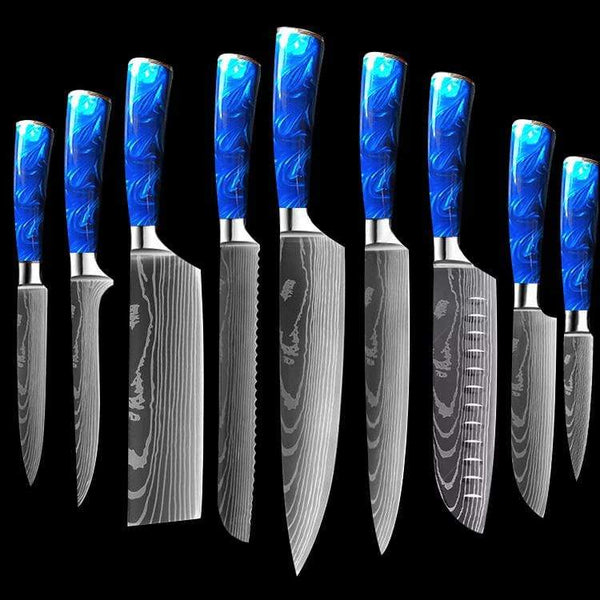 Professional Azure Chef Knife Set with Blue Resin Handle