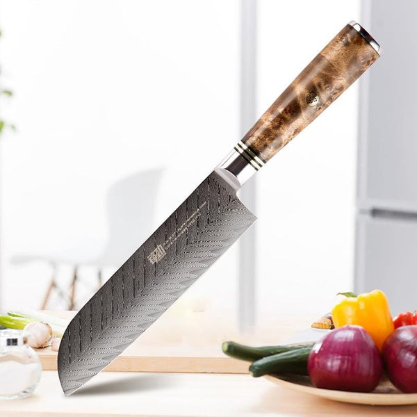 Damascus Steel Sushi Knife with Shadow Wood Handle