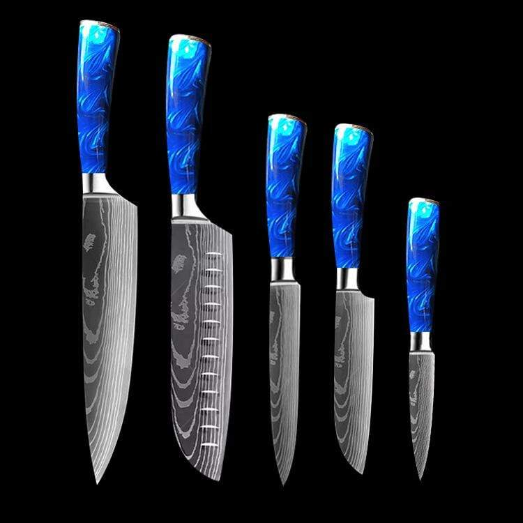 10 Piece Chef Knife with Blue Resin Handle