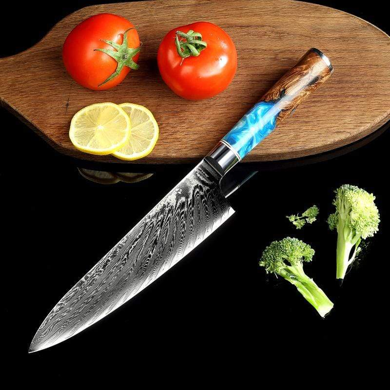 Deep Blue 8 inch  Damascus Chef Knife with Resin Handle