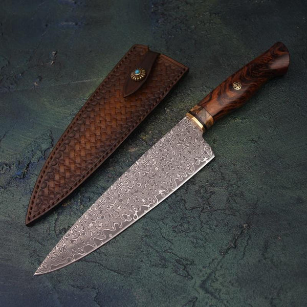 Damascus Steel Hunting Knife with Leather Sleeve