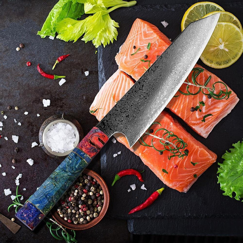 Damascus 8 Inch Chef Knife with Unique Colored Wood Handle