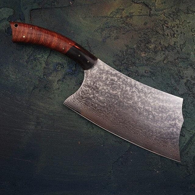 "7.5"" VG10 Damascus Steel Chinese Cleaver  67 Layer of Damascus Steel  - Handmade"
