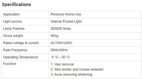 beauties bliss styliio ipl device specifications