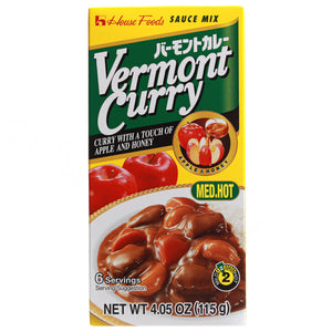 House Shokuhin Vermont Curry Roux - Med.Hot (6 Servings) 115g <br> House Shokuhin Vermont 日式咖哩 - 中辛