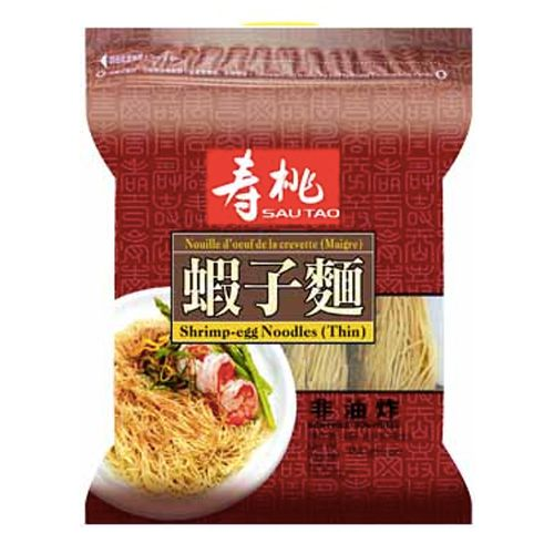 Sau Tao Shrimp Egg Noodles (Thin) 454g <br> 壽桃牌袋裝蝦子麵 (幼)