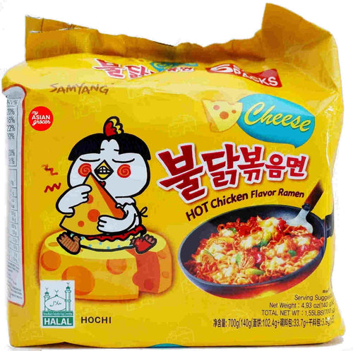 Samyang Hot Chicken Flavor with Cheese 140g (5 Pack) <br> 三養芝士辣雞拉麵 5連包