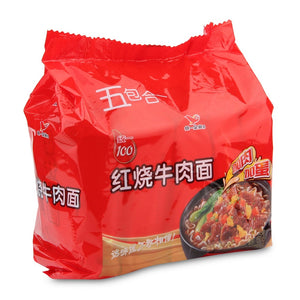 Unif Instant Noodles-Artificial Roasted Beef Flavor 540g (5 Pack) <br> 統一紅燒牛肉麵 (5連包)