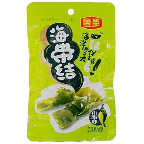 GS Preserved Seaweed Knot - Spicy 60g <br> 國聖海帶結