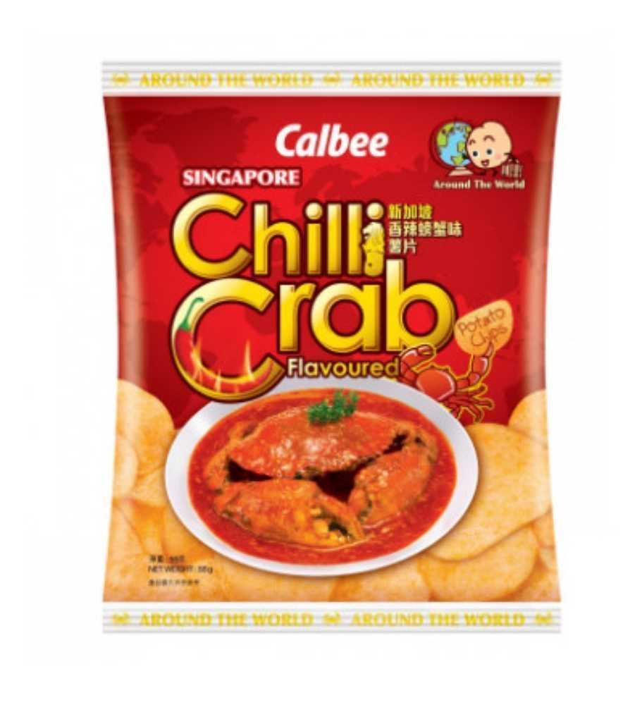 Calbee P/Chips - Singapore Chilli Crab Flavoured 55g <br> 卡樂B薯片-新加坡香辣螃蟹味