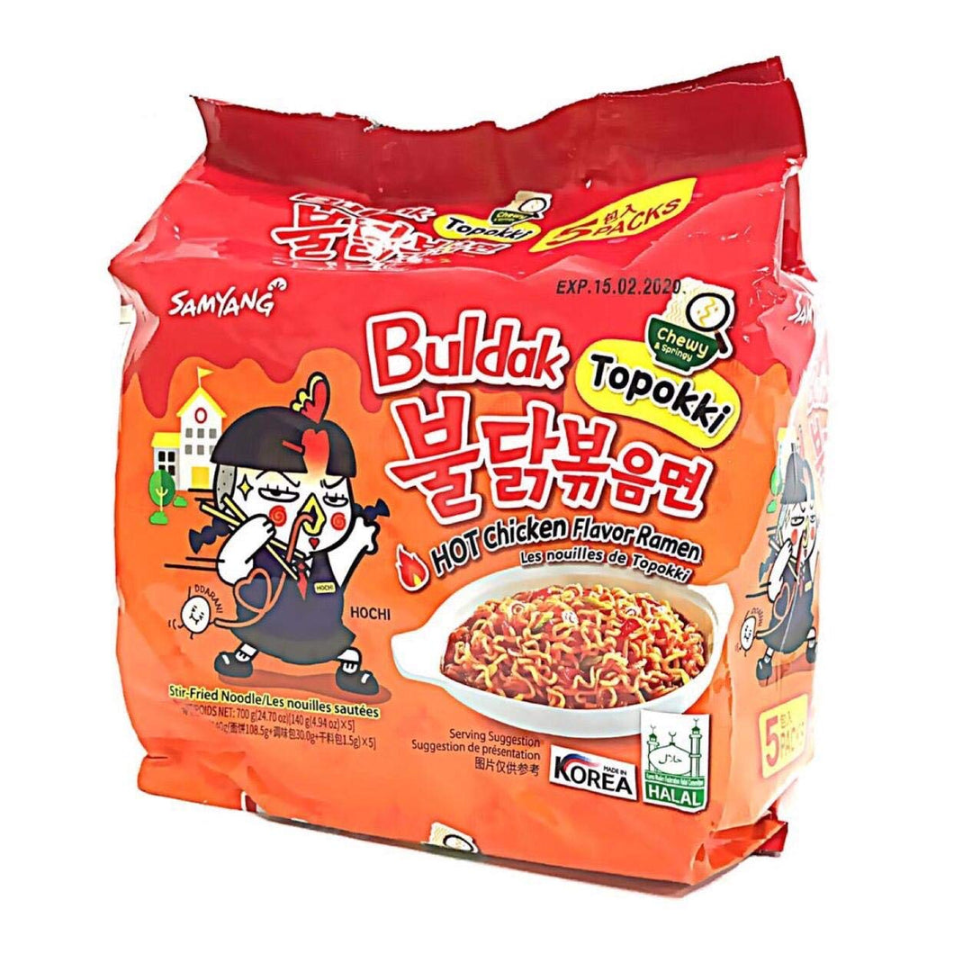 Samyang Topokki Hot Chicken Flavor Ramen 140g (5 Pack) <br> 三養 年糕辣雞拉麵 5連包