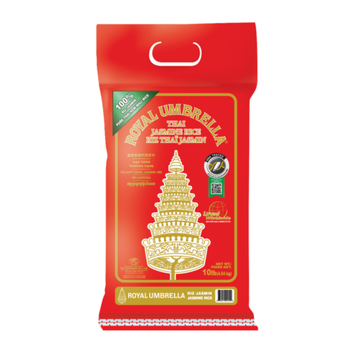 Royal Umbrella Thai Hom Mali Rice 10lbs <br> 皇族泰國香米
