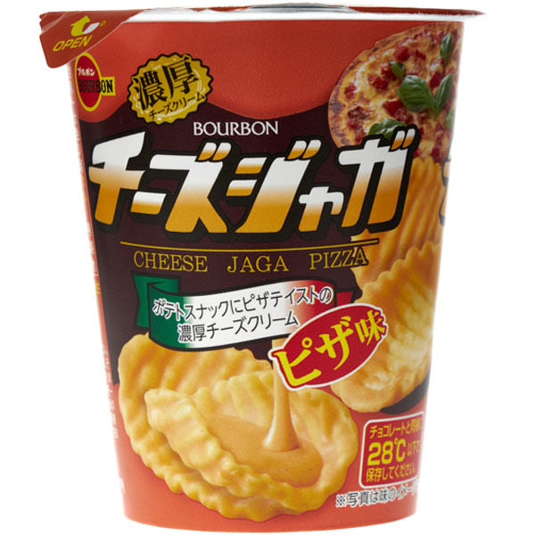 Bourbon Cheese Jags Pizza Flavoured Cream Cheese Coated Potato Snacks 35g *** <br> 百邦 濃厚芝士薯片杯-披薩風味