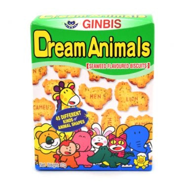 Ginbis Dream Animals-Seaweed Flavoured Biscuits 37g <br> 金氏愉快動物餅乾 海苔味