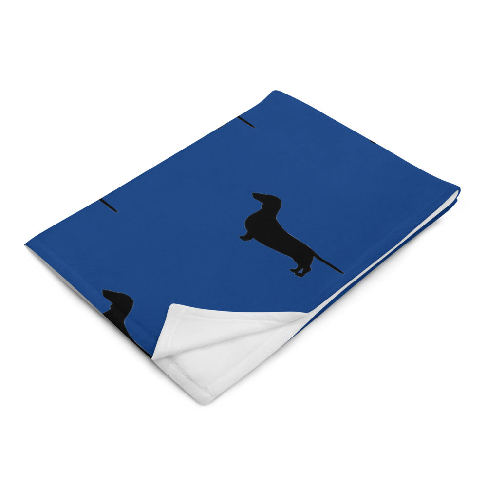 Blue Dachshund Throw Blanket