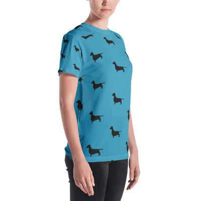 Teal Dachshund Women's T-shirt