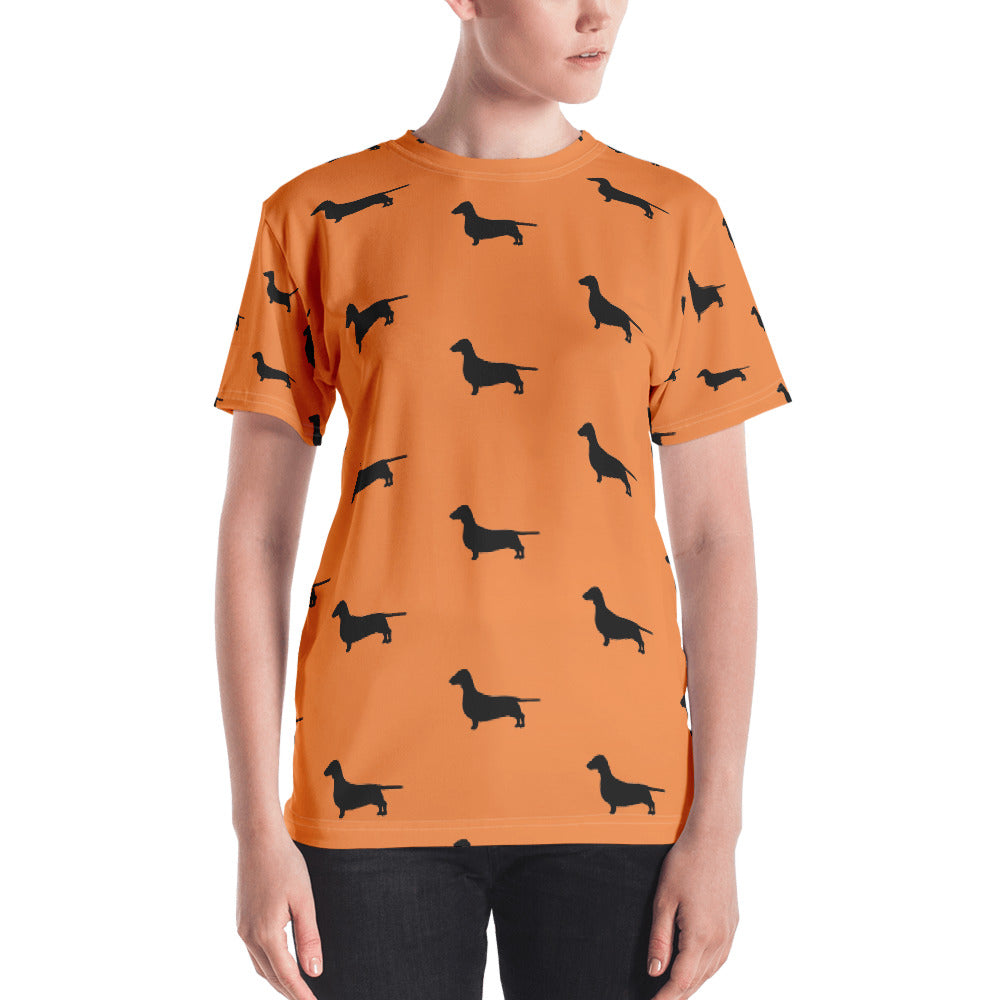 Orange Dachshund Women's T-shirt