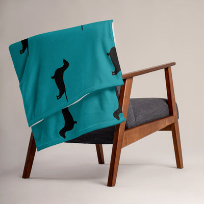 Teal Dachshund Throw Blanket