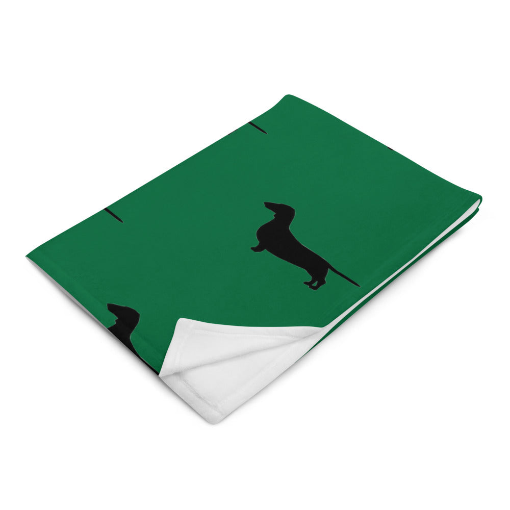 Green Dachshund Throw Blanket