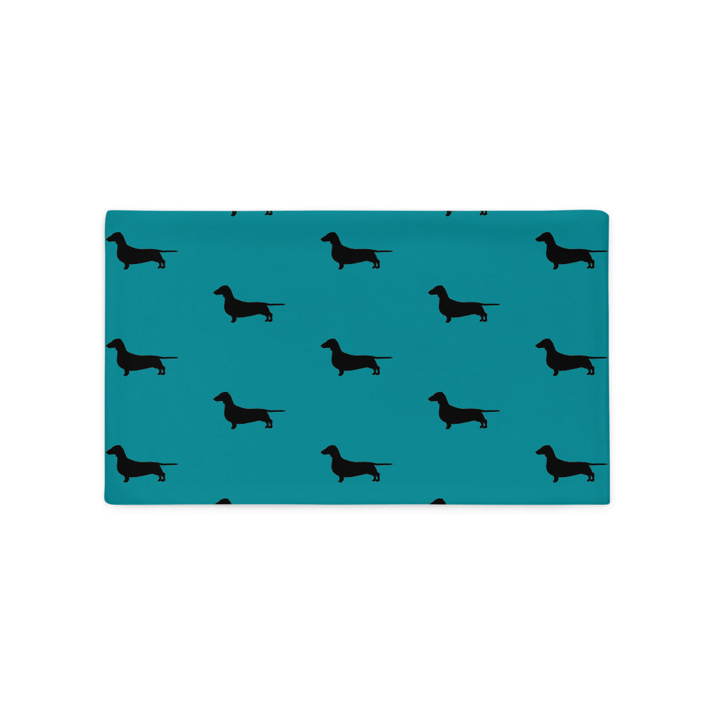 Teal Dachshund Pillow Case