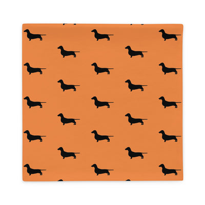 Orange Dachshund Pillow Case