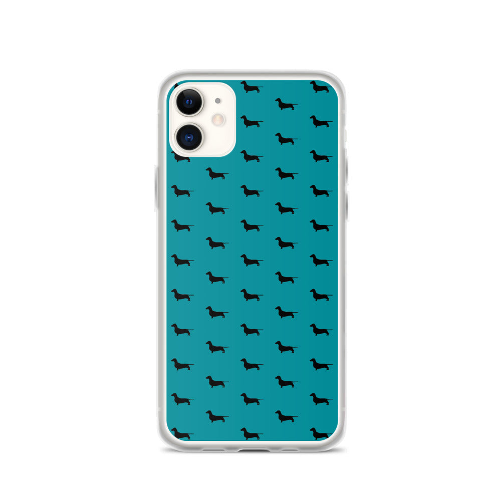 Teal Dachshund iPhone Case