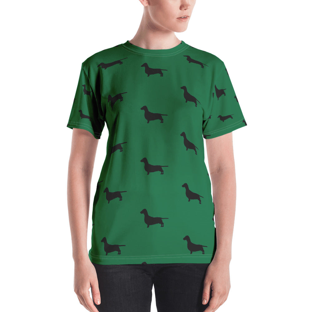 Green Dachshund Women's T-shirt