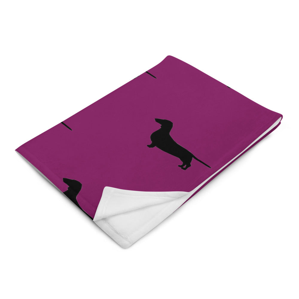 Plum Dachshund Throw Blanket