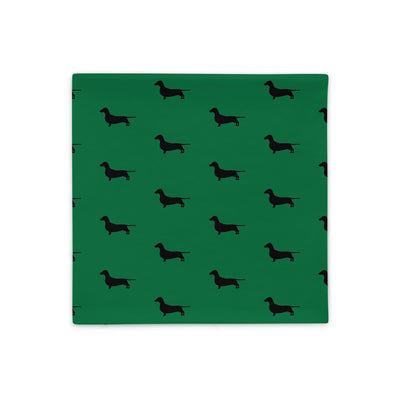 Green Dachshund Pillow Case