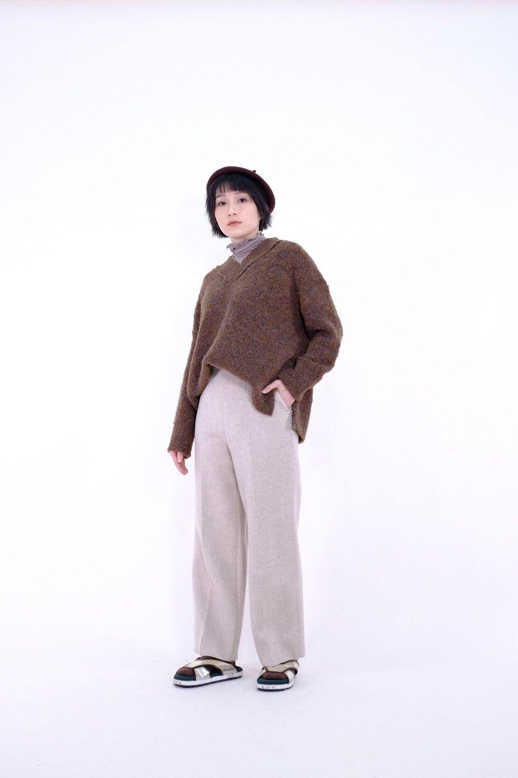 Thick lambwool cropped pants