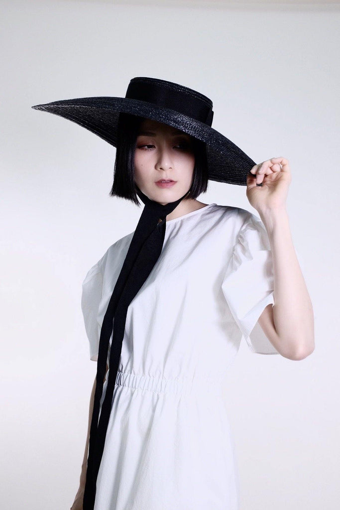 Wide Mushroom Collared monarch hat - Black - MMW Concept