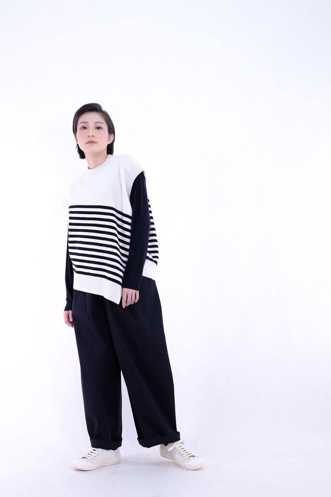 Knitted asymmetric striped vest (Pre-order)