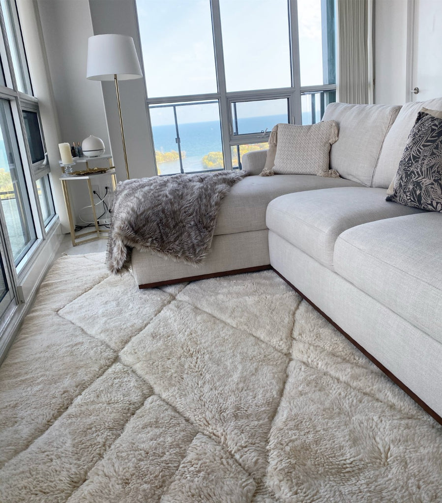 moroccan rug, very elegant and chic, cream beige with embodied lines, in Toronto home decor