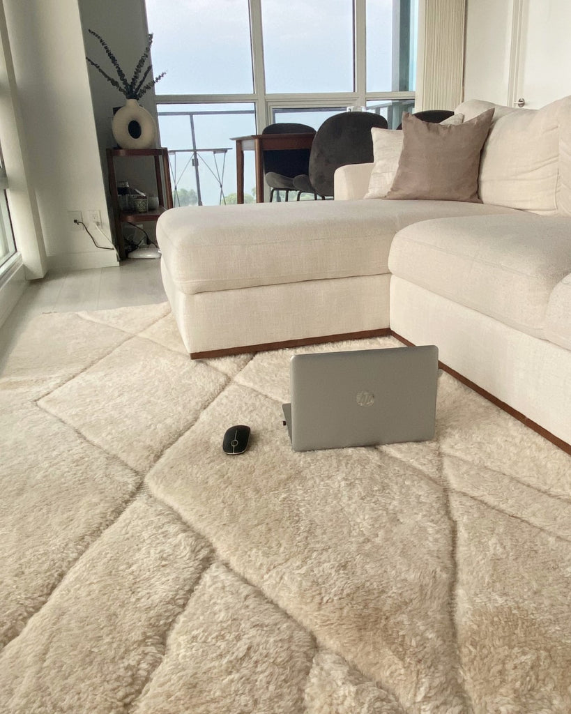 Moroccan rug in Etobicoke, Ontario, Canada. Ivory rug with embodied lines. 100% wool. Handmade in Morocco. Reference: Double Cream