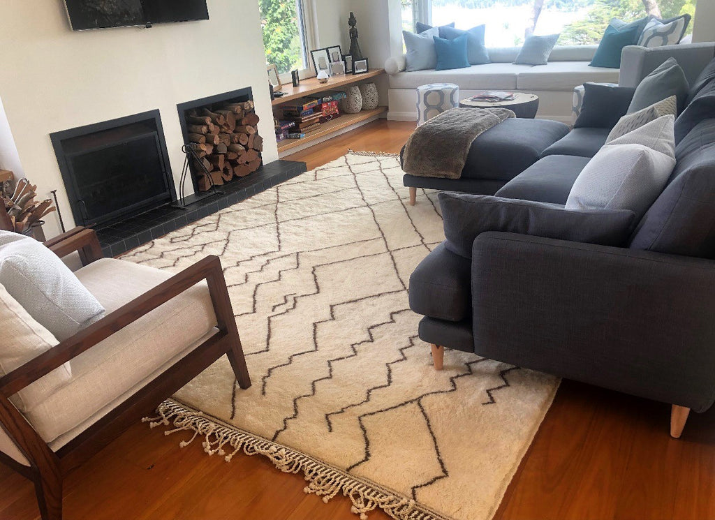 Baboosh Moroccan rug Faded with ivory base and natural brown lines in Australia