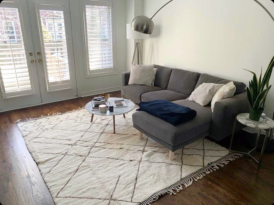 Baboosh Moroccan rug Faded in Toronto Canada new home. 100% wool rug, made to order in any size