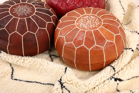 three options to stuff a Moroccan Leather Pouf