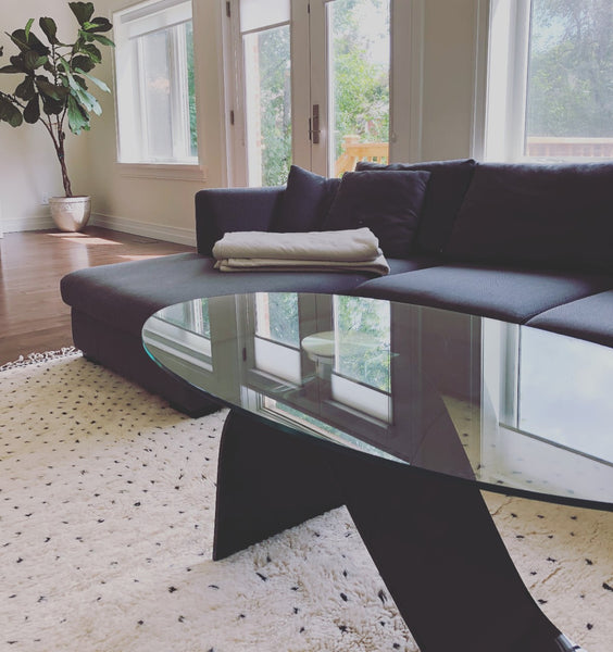 Moroccan rug with ivory background and black polka dots, 100% wool, handmade in Morocco, in its new home in Canada Toronto