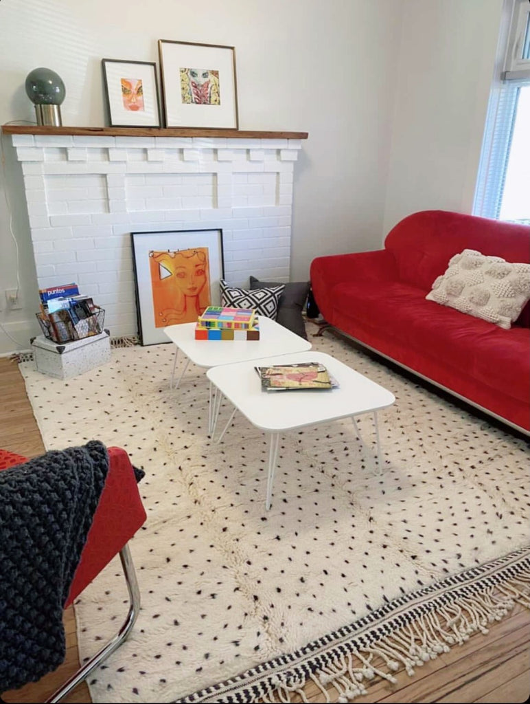 moroccan rug polka dots black and white in Toronto Canada home