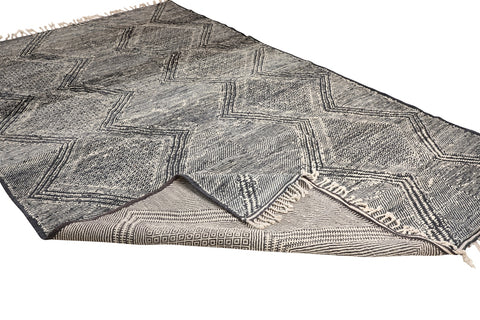 moroccan rug - flat and grey - reversible - perfect for dining room, living room and bedroom