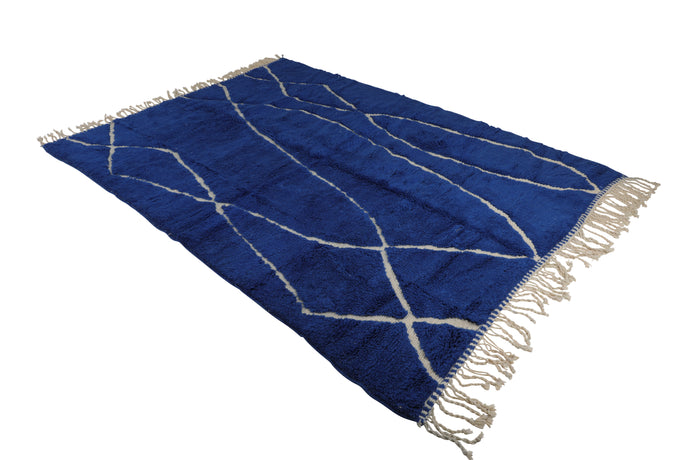 blue moroccan rug, handmade in Morocco with 100% wool, mrirt, beni ourain, can be used as living room rug, dining room rug, bedroom rug