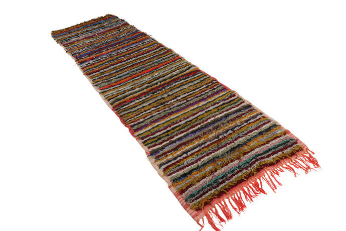 vintage boucherouite moroccan rug, made of recycled rags, runner can be used in hallway, kitchen and kids room